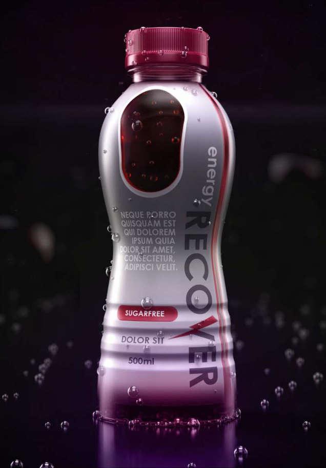 Render 3D napoju izotonicznego Recover