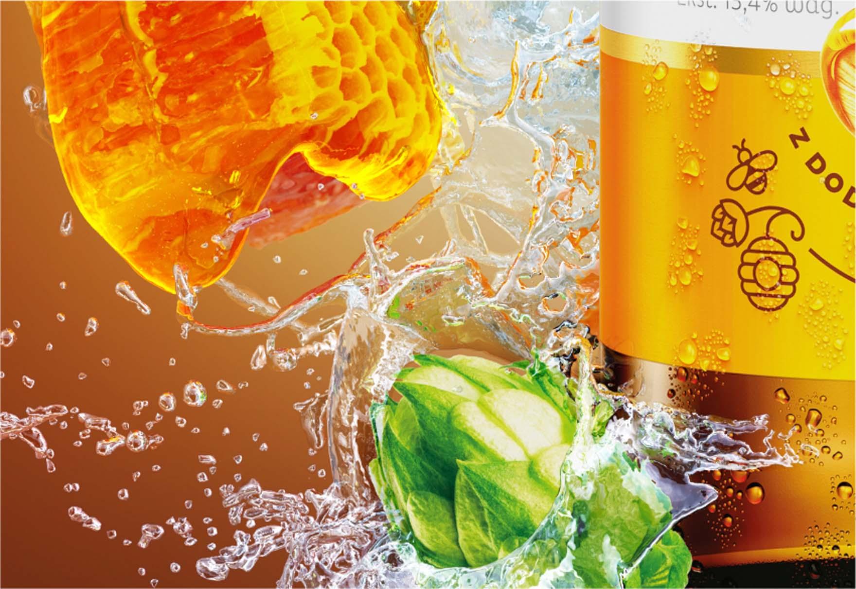 Render 3D Butelki Piwa Łomża Miodowa