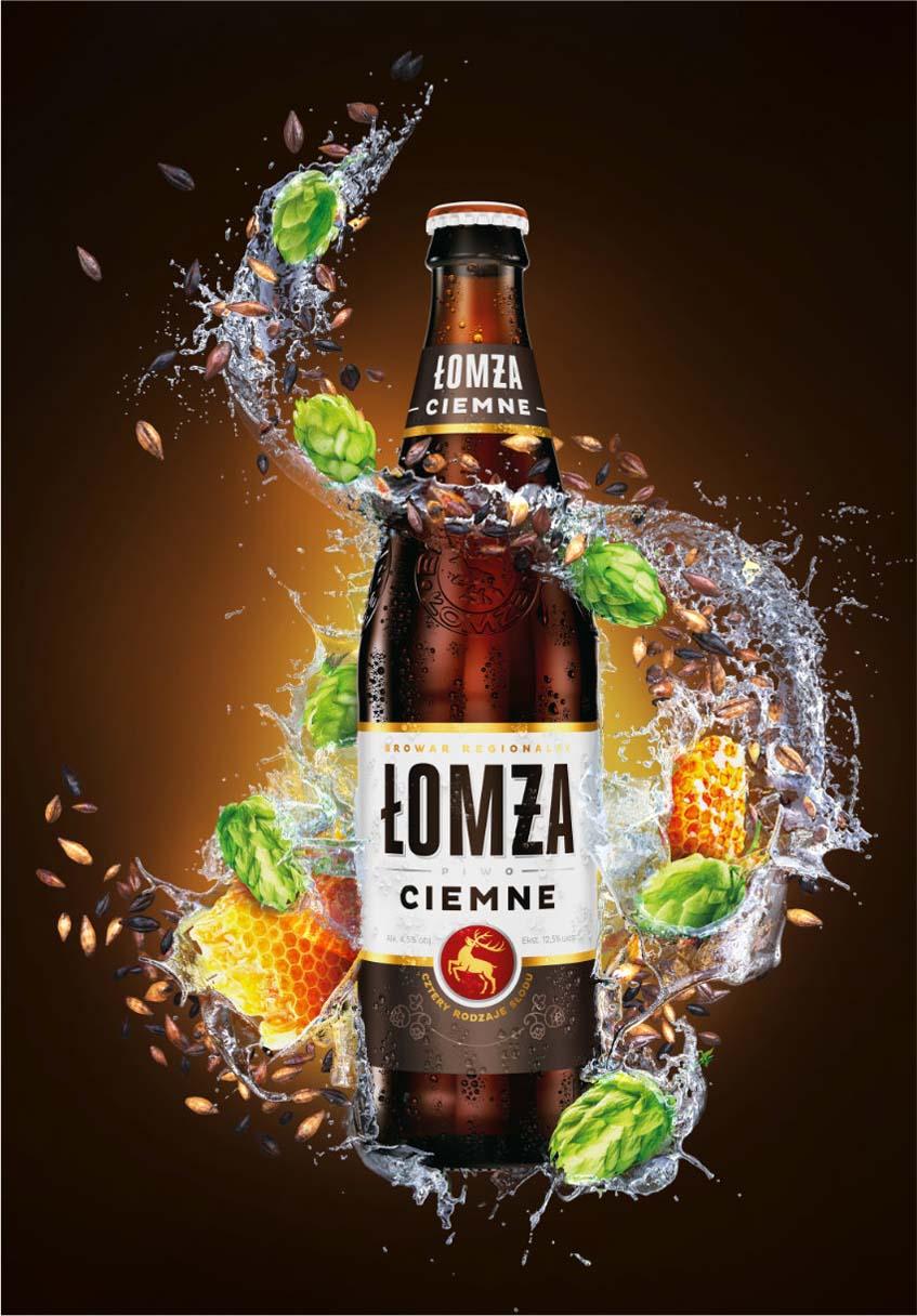Wizualizacja 3D Butelki Piwa Łomża Ciemne