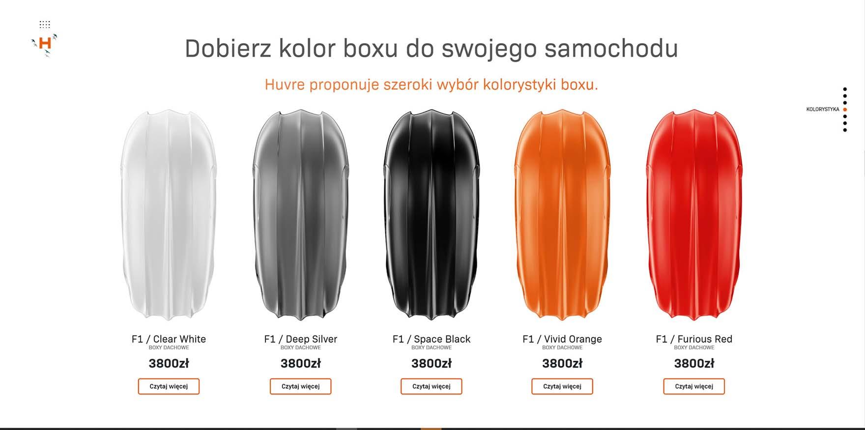 Wizualizacja produktów boxów dachowych Huvre
