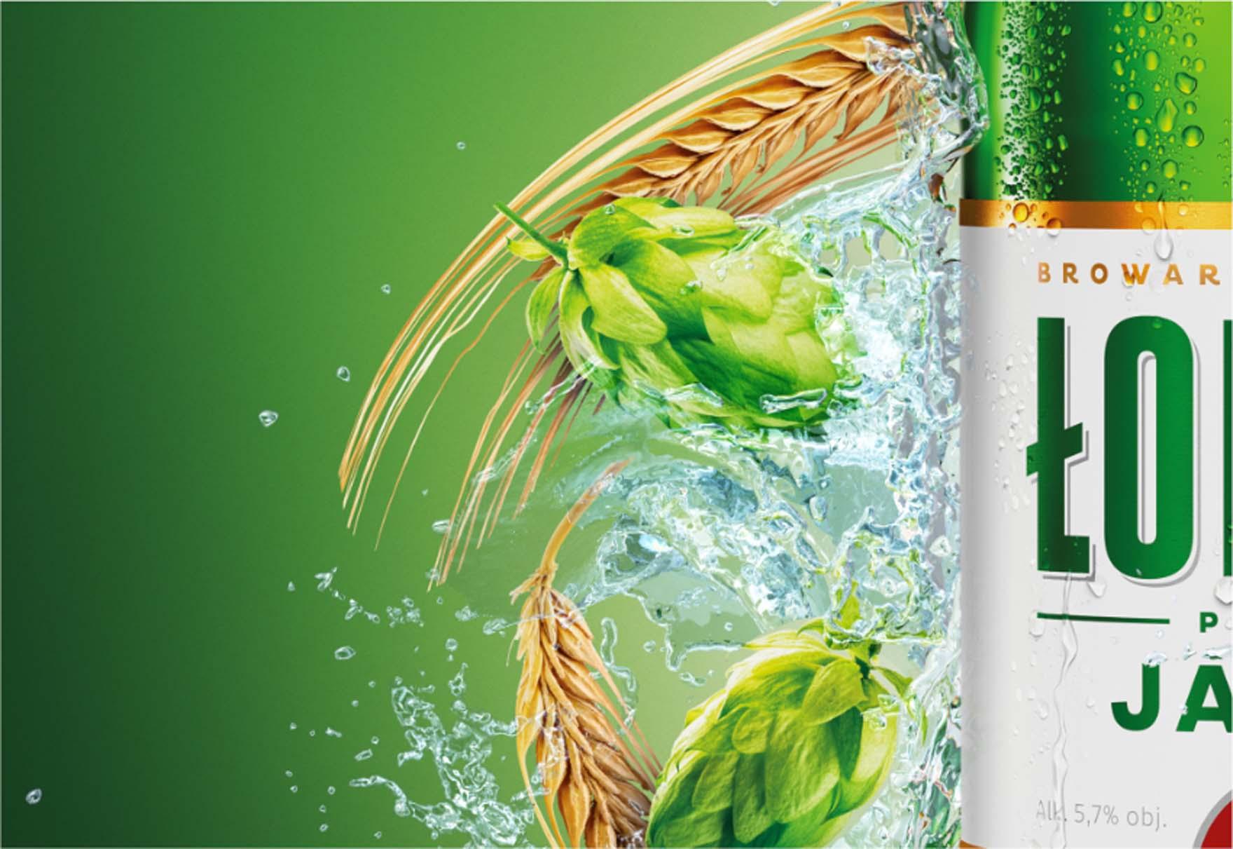 Wizualizacja produktowa Butelki Piwa Łomża Jasne Pełne
